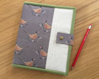 Notepad Cover A5, Fabric Notepad Holder, Organizer, A5 Notebook Cover, Fabric Portfolio Cover, Sketch pad cover, Rustic organiser, Pheasants