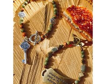 Speak Now & Enter Middle Earth   Golden Ghandi Love Unakite Bracelet