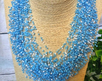 Light blue white necklace airy crochet multistrand bridesmaid statement gift for her unusual gift idea casual everyday beaded wedding summer