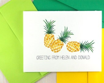Pineapple Thank You Notes, Pineapple Stationary Set, Housewarming Gift, Personalized Wedding Thank You Cards, Family Stationery Set of 10