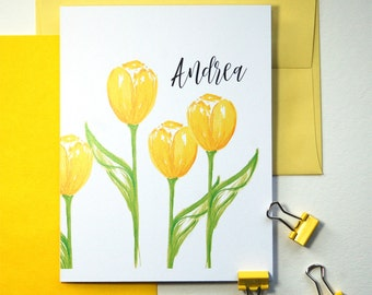 Yellow Tulip Stationary, Folded Note Cards Personalized Stationery Set, Floral Stationary, Personalized Stationary Set of 10
