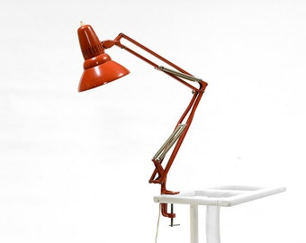 Vintage blood red Swedish architect lamp Femo Typ 55. Well kept industrial quality from the 1960s.