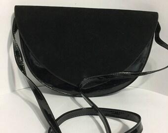 Black Purse - Cabrelli Canada - Vintage Purse - Shoulder Purse - Rigid Purse