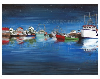 Art Print of Wharf - Fishing Boats - giclee 8x10