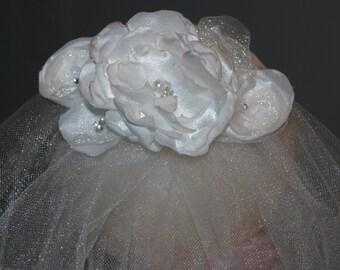 Communion Headpiece- Organza and satin flowers