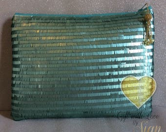 Handmade oversized sequin clutch bag. Fully lined. Evening wear, oversized, made in Scotland. Other colours coming soon.