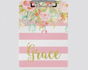 Personalized Clipboard Pink Floral Stripe - Fall Home Decor Monogrammed Gifts For Her Floral Clipboards For the Office School Teacher Gifts