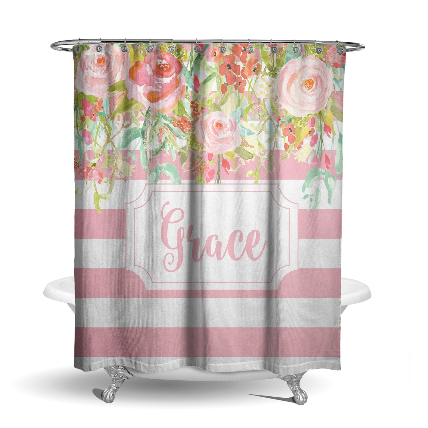 Personalized shower curtain light pink stripe floral frame for Light pink shower curtain