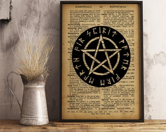 "Pentagram print Magic circle poster Occult decor, Pentagram with text ""spirit water fire earth air"" using Runes (AL06)"