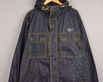 lacoste izod jacket, lactoste rain jacket, lacoste jacket, hooded rain coat, windbreaker, black rain coat, yellow rain coat
