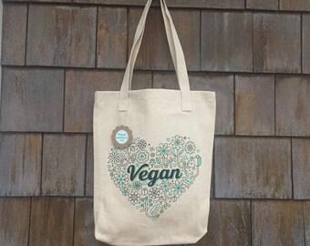 Vegan Tote Bag | Floral Heart Canvas | Proceeds go to animal sanctuary
