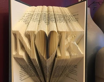 Custom Initials and Heart Folded Book