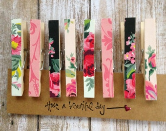 Decorative Cottage Style Clothespins/Rustic Clips/Cottage Garden Clothespin/Floral Memo Clips/Decorative Pegs/ Floral Clothespins/Set of 8