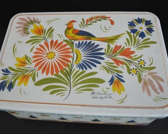 Vintage Tin Can With Colourful Flowers and Paradise Bird Pattern