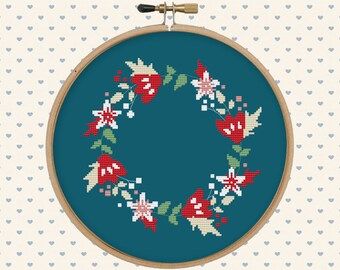 Floral wreath cross stitch pattern pdf - instant download - digital download - flower pattern pdf - pillow embroidered