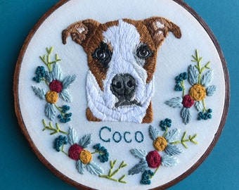 Embroidered Pet Portrait Custom Pet Portrait Embroidery Hoop Art Hand Embroidered Personalized Embroidery by Hoffelt and Hooper Co