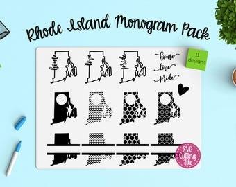 11 Rhode Island SVG - Rhode Island State SVG - Rhode Island Monogram Frames - Rhode Island Pride - Rhode Island Love