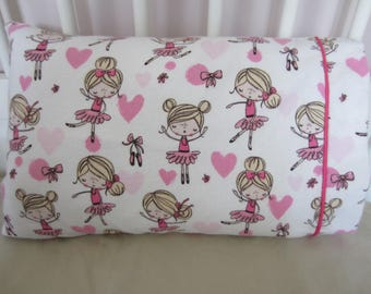 toddler pillow comes with a flannel pillowcase ballerina