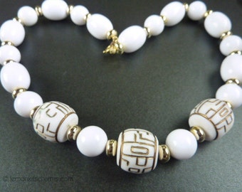 Vintage White Oriental Style Beaded Necklace, Jewelry, 1980s, Asian Style, Short Plastic Beads, Gold Goldtone