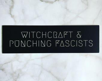 Witchcraft & Punching Fascists vinyl sticker
