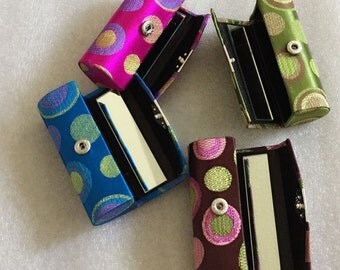 Lipstick Case Holder Box With Mirror Assorted Color Satin Silky Fabric Polka Dot Brocade Gorgeous Design