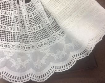 1y _ 26 cm Wide Magnificent  Broiderie Anglaise Lace on  Swiss Cotton Voile, Imported.