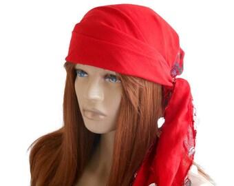 Scarf bandana, Women Scarf, Women Bandana, Cotton Bandana, Turban Scarf, Bandana Headband, Women's Accessories, Red Scarf, Head bandana