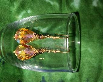 Amber Teardrop Crystal
