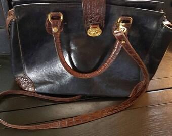 Vintage Brahmin Leather/Croc Crossbody Handbag
