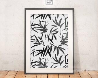 Tropical print, Bamboo art, Wall art, Digital print, Downloadable art, Printable poster, Digital download, Modern interiors, Home decor