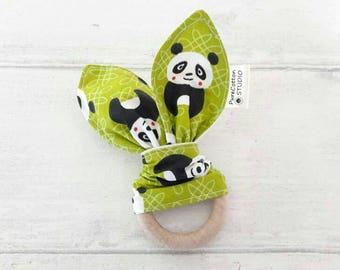 natural Teething Ring - cool pandas, Organic Wood, bunny ears teether - teething toy, baby girl, baby boy, Waldorf sensory toy, modern baby
