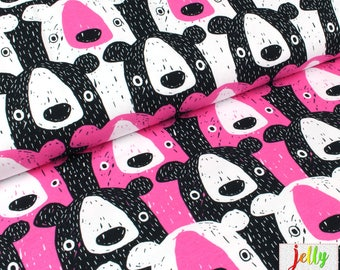 ORGANIC Cotton KNIT Fabric - Bears in Pink by Mutturalla - UK Seller