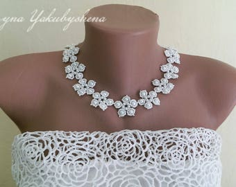 Wedding necklace Bridal necklace White necklace Necklace beaded Necklace classic Bridal jewelry Romantic bridal choker Gift  Accessories