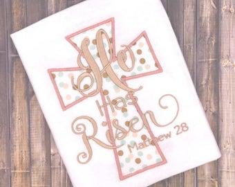 He has risen 5x7 Appliqué design Religious embroidery designs, God designs, Easter embroidery design,christian embroidery, Cross Applique