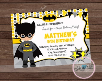 Superhero Batman Party Invitation, Batman Invitation, Batman Boy Birthday Invitation, Batman Birthday, Superhero Invitation, Digital File