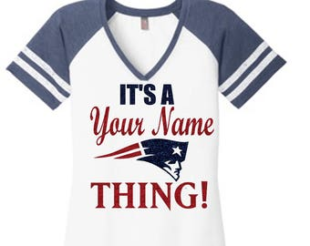 Personalized New England Patriots V-Neck District Made Tee