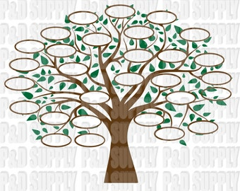 Family Tree 29 SVG, DXF Digital cut file for cricut or Silhouette svg, dxf - 29 Circles for Family Members