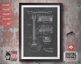 Gibson Les Paul Patent Poster | Printable Art | Electric Guitar | Patent Poster | Guitar | Musical Instrument | Chalkboard Art | BP-003