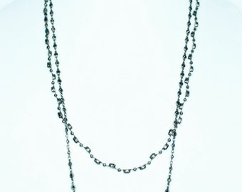 Sorrelli Long Double Strand Chain Necklace Made with Swarovski Crystals & Semi-Precious Stones Antique Inspired Chain Necklace Silver Gray