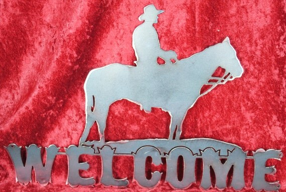 Horse and Rider Welcome sign, Western Decor, Western Sign, Mountain Lodge Decor, Ranch Decor, House Warming Gift, Gift for Him, Gift for Her