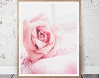 Girl Nursery Wall art Pink rose photography I am a dreamer quote print Minimal wall decor gift for her baby shower gift Rose flower wall art