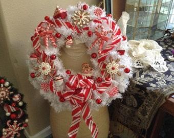 White Peppermint Christmas Wreath