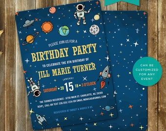 Outer Space, Birthday, Invitation, Invite, Astronaut, Stars, Planets, Printable, 5x7, 4x6