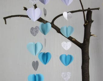 1m Blue White Baby Shower Garlands, Silver Glitter 3D Paper Garland, Boy's Nursery Decor, Sea Wedding Background