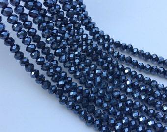 1Full Strand Crystal Rondelle Beads, 6*5mm Faceted Crystal  Glass Beads For Jewelry Making