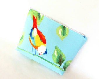 Blue bird Pouch - small bag - fabric pouch - toiletry bag - makeup bag - travel pouch - zipper pouch - cosmetic bag - bags and purses