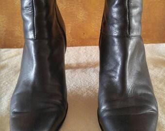 Nine West Black Leather Boots 8 Women's Shoes 90's