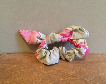 Pink and French Green Floral Scrunchie with Bunny Ears - to go over ponytail