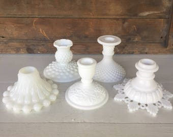 5 Vintage Milk Glass Candlesticks, Instant Collection, Candle Holders, Centerpiece, Wedding Decor, Cottage Style, Farmhouse Style, Rustic
