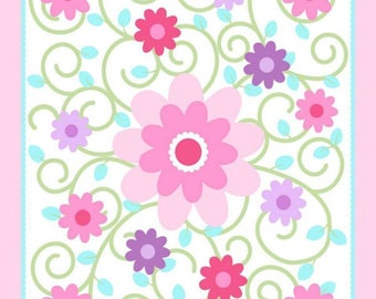 "Dilly Dally Nursery Swirlicious Pink Quilt Top Panel 100% cotton fabric 43"" x 36"", SC124"